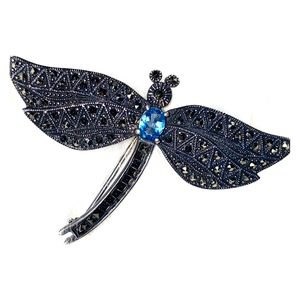 Vintage Sterling Marcasite DragonFly Brooch Pin